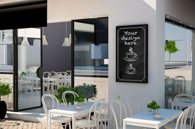 Quadro-negro na maquete da fachada do restaurante