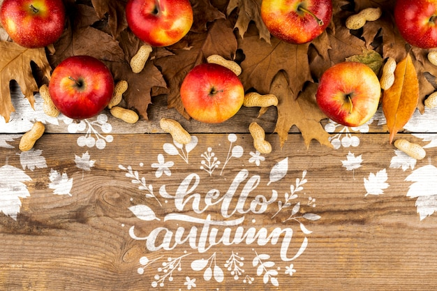 Quadro outonal de vista superior com maçãs e folhas
