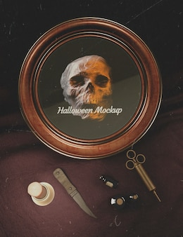 Quadro redondo de halloween com crânio e equipamentos de medicina à moda antiga