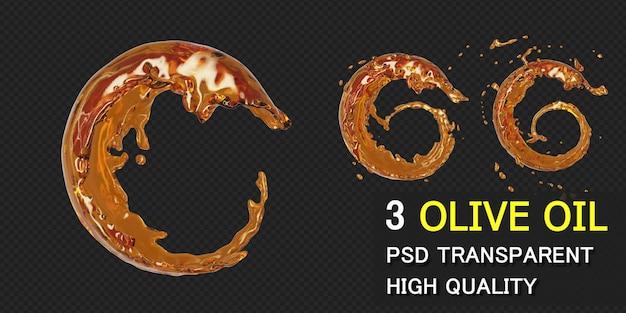Quadro redondo de respingo de azeite de oliva em renderização 3d isolado