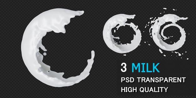 Quadro redondo de respingo de leite em renderização 3d isolado