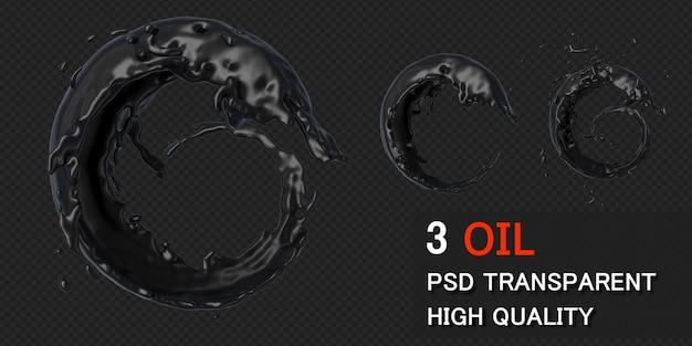 Quadro redondo de respingo de óleo de tinta em renderização 3d isolado