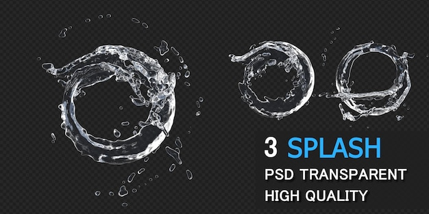 Quadro redondo de respingos de água em renderização 3d isolado
