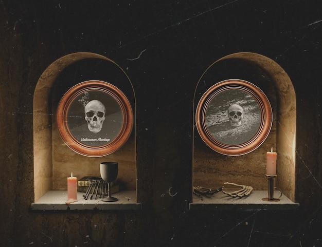 Quadros de mock-up horror preto halloween vista frontal