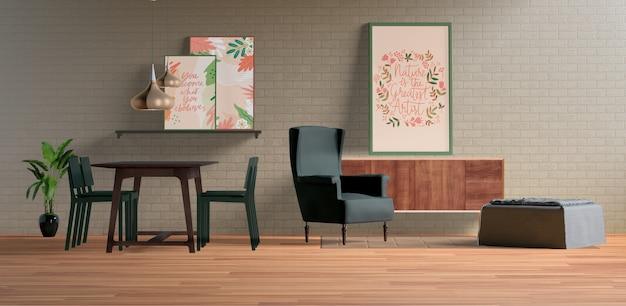Quadros de pintura com espaço vazio na sala de jantar