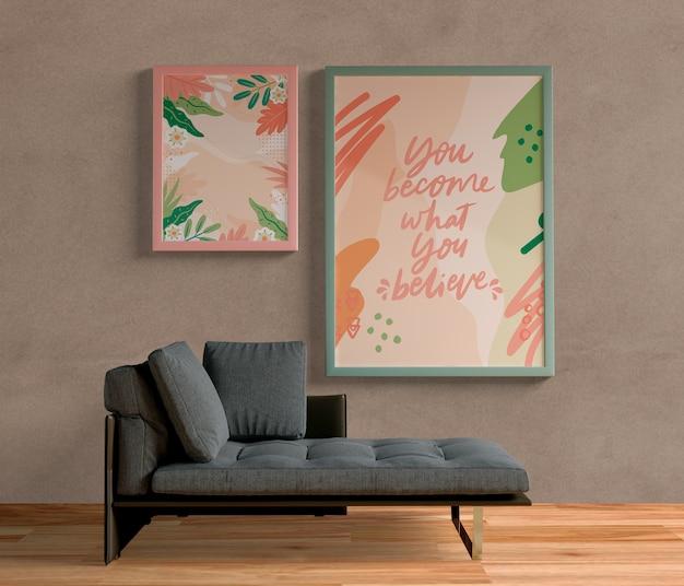 Quadros de pintura minimalista pendurado na parede