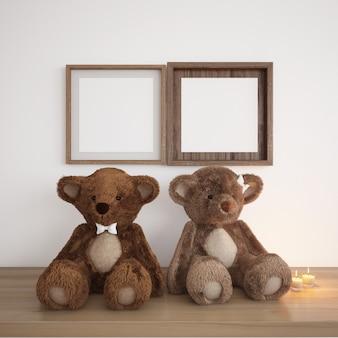 Quadros em branco com ursinhos de pelúcia e velas