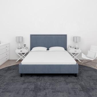 Quarto com cama de casal e móveis brancos