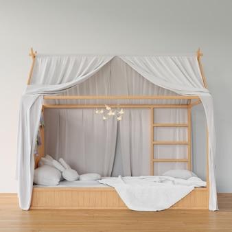 Quarto com cama de madeira