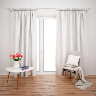 Quarto com móveis minimalistas e janela grande com cortinas brancas