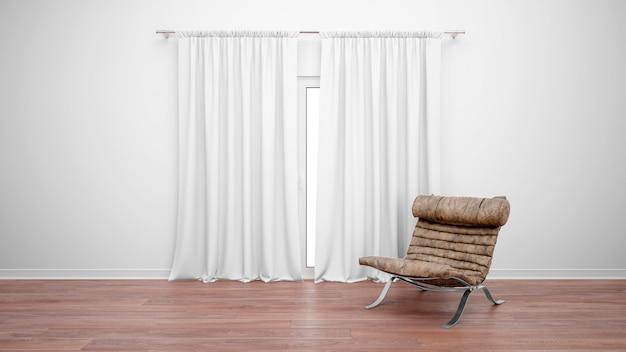 Quarto com sofá vintage ao lado da janela com cortinas brancas