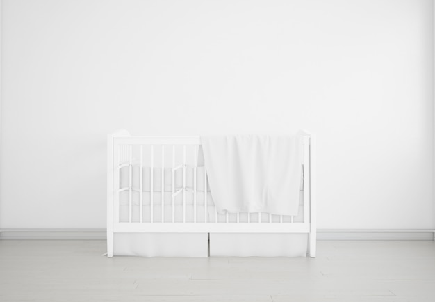 Quarto de bebê branco realista com um berço