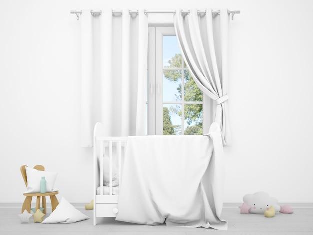 Quarto de bebê branco realista com uma janela e um berço