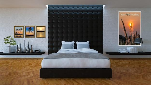 Quarto de cama 3d com parede de couro