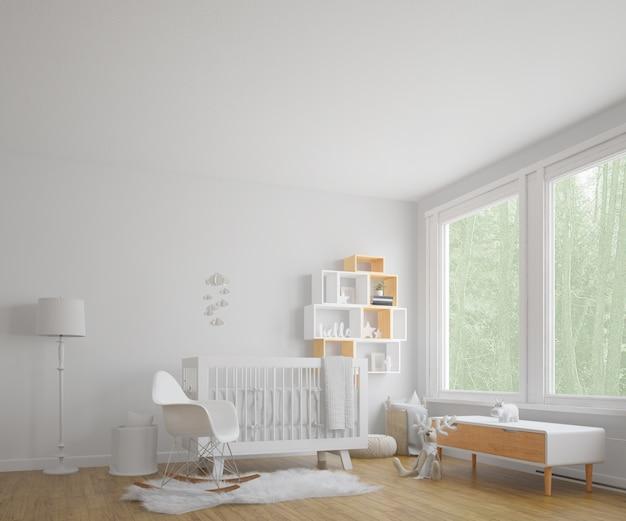 Quarto de criança com grande janela