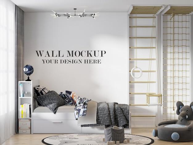 Quarto de maquete de parede com escada sueca