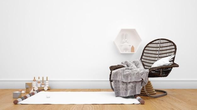 Quarto decorado com móveis modernos, carpete e objetos decorativos