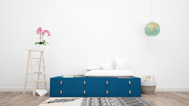 Quarto decorado com móveis modernos, flor rosa e objetos decorativos
