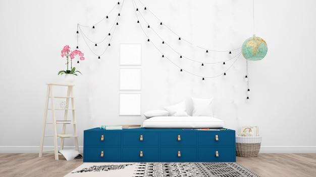 Quarto decorado com móveis modernos, luminárias penduradas e objetos decorativos