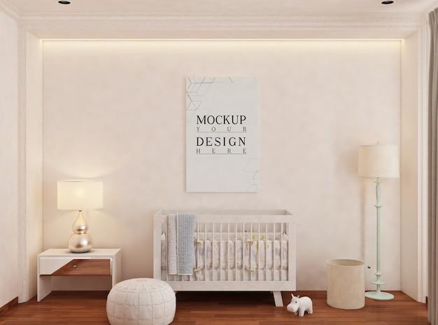 Quarto do bebê com moldura de pôster de maquete