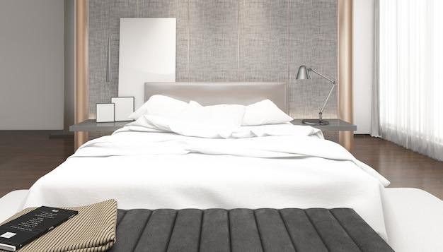 Quarto duplo moderno brilhante realista com móveis