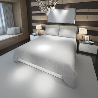 Quarto duplo moderno realista com móveis e uma moldura