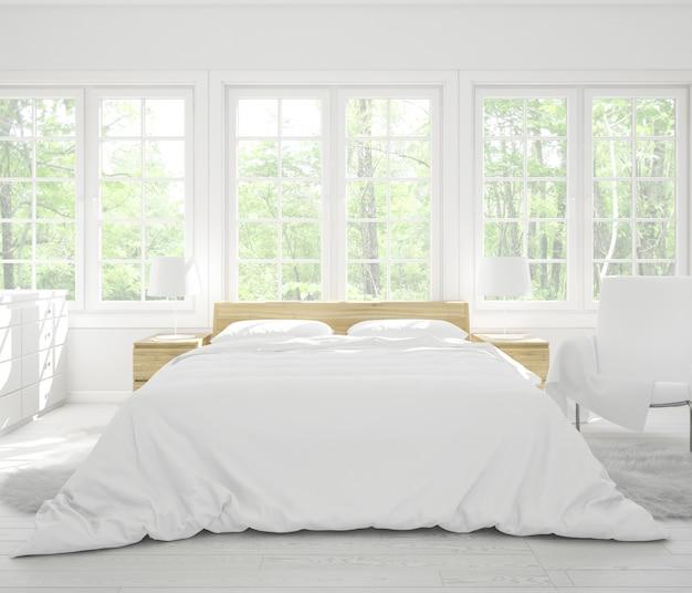 Quarto duplo realista com móveis e janelas grandes
