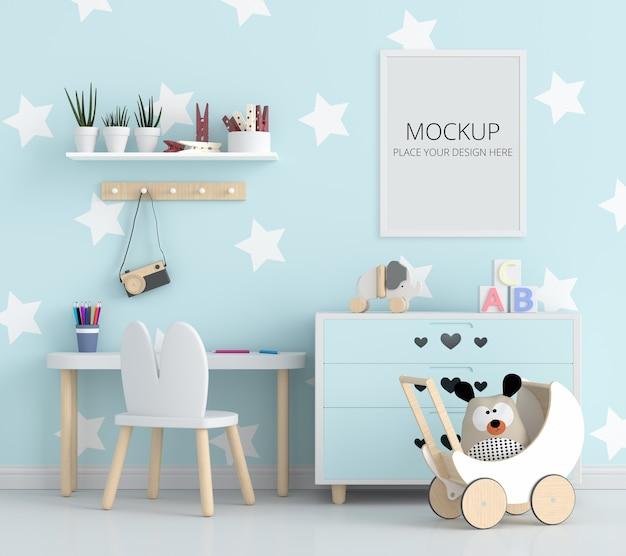 Quarto infantil azul com maquete de quadro