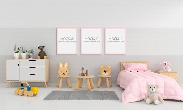 Quarto infantil cinza com maquete de quadro