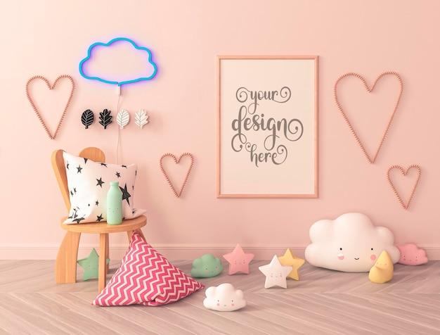 Quarto infantil com almofadas no chão, maquete de pôster e corações na parede
