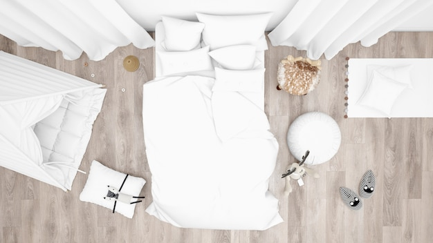 Quarto infantil com cama e muitos brinquedos. vista do topo