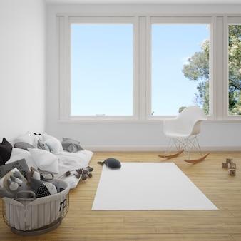 Quarto infantil com sofá e carpete no chão de madeira