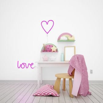 Quarto infantil decorado com objetos fofos e a palavra