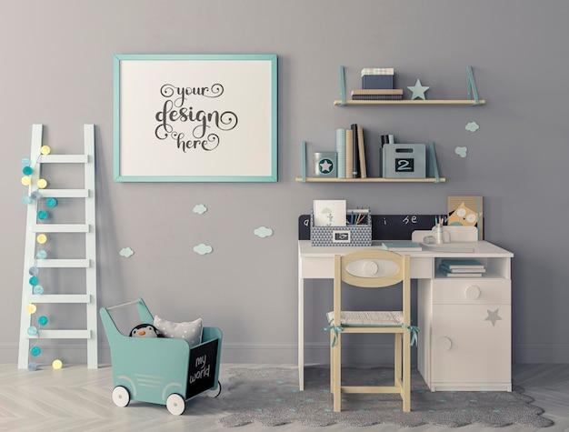 Quarto infantil moderno com conjunto de cadeira e mesa, escada encostada na maquete da parede