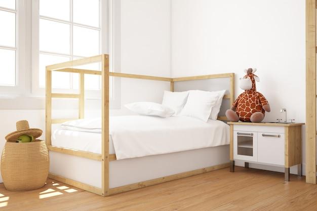 Quarto infantil realista com cama e prateleiras