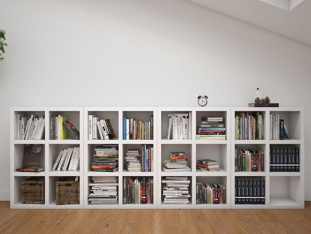 Quarto interior com prateleiras e decoração