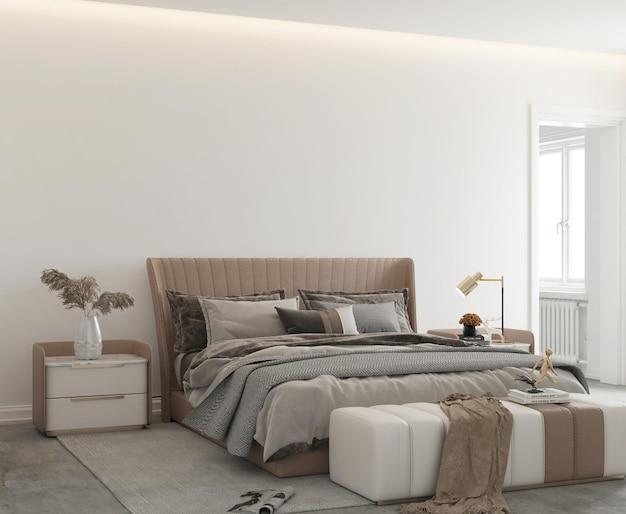 Quarto minimalista moderno com parede maquete