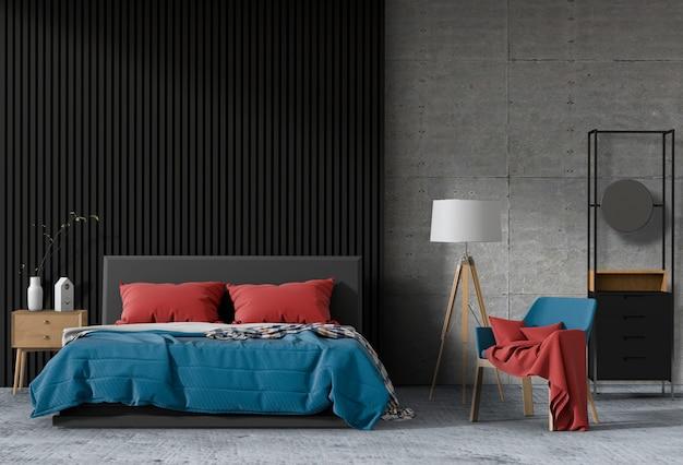 Quarto moderno interior, minimalismo. 3d render