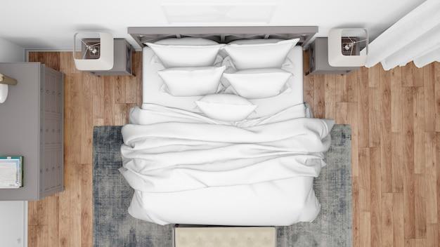 Quarto moderno ou quarto de hotel com cama de casal e móveis elegantes, vista superior