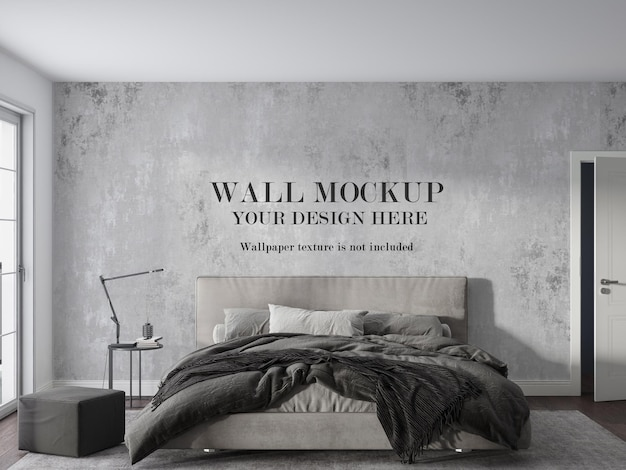 Quarto monótono com design de maquete de parede