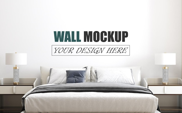 Quarto projetado em uma maquete de parede de estilo moderno