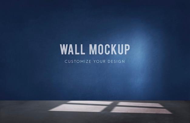 Quarto vazio com uma maquete de parede azul