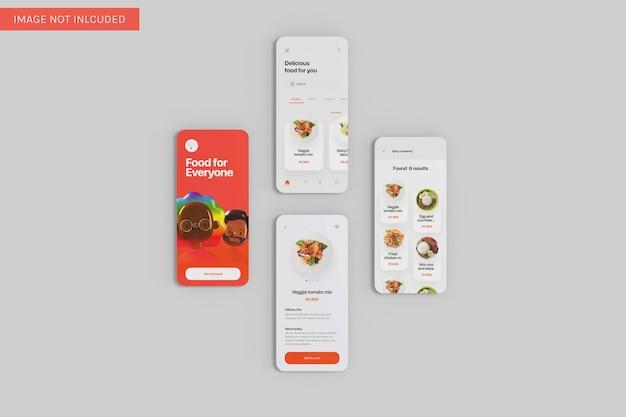 Quatro app ui mockup vista de ângulo superior