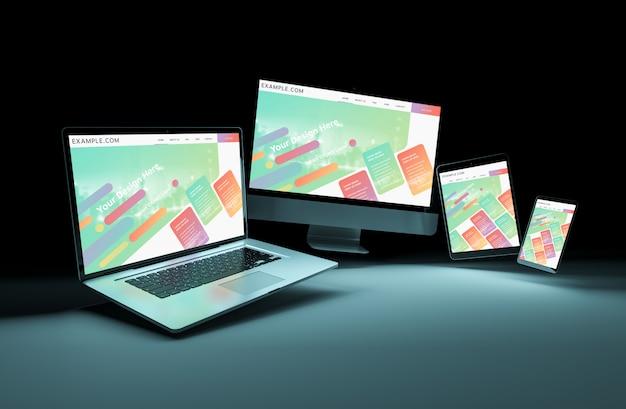 Quatro dispositivos flutuando no escuro mockup