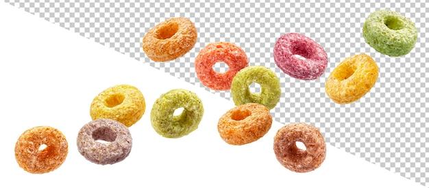 Queda de anéis de milho coloridos isolados