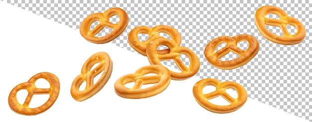 Queda de pretzels salgados isolados