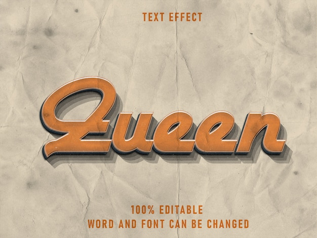 Queen text style effect fonte editável limpa