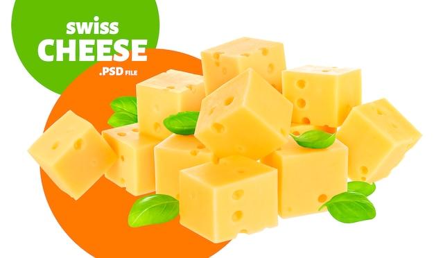 Queijo, cubos de emmental suíço