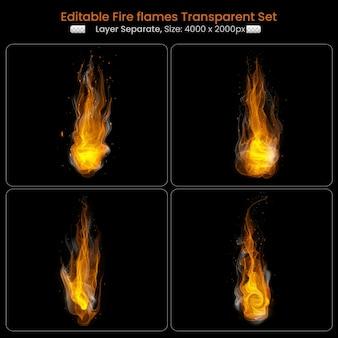 Queimando chamas de fogo com conjunto de elementos brilhantes
