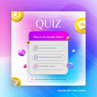 Questionário criativo de sorteio de mídia social post instagram template premium psd